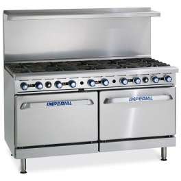 Imperial IR-10/P ( With Splash Back ) LPG Gas 10 Burners Open Top Range With 2 Ovens